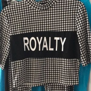 Letter Print Houndstooth Tee & Pants Set In XL
